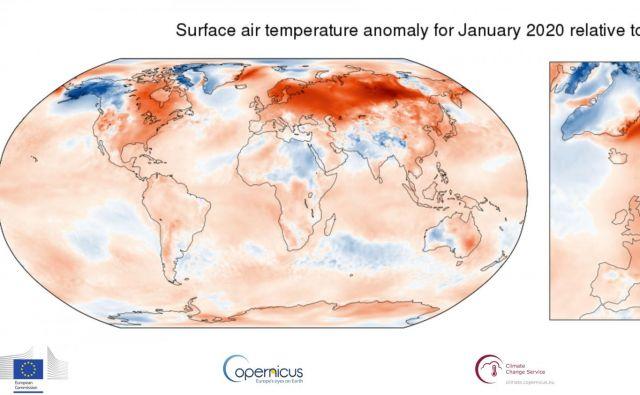 Vizualni prikaz odstopanja letošnjih januarskih temperatur od povprečja 1981–2010. FOTO: Copernicus Climate Change Service/ECMWF