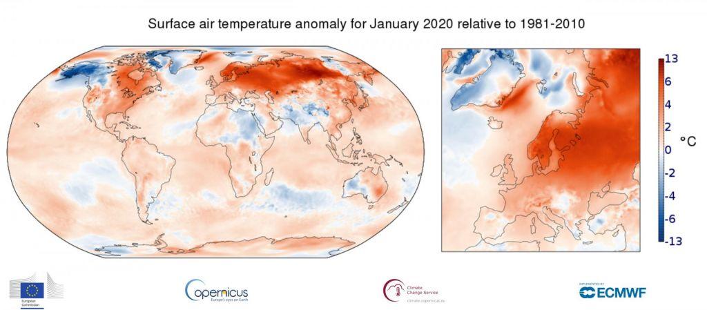 Letošnji januar najtoplejši v moderni zgodovini