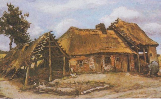 Kmečka hiša s kmetico v modri obleki je najbolj kakovostna v seriji slik, ki jih je van Gogh naslikal v pokrajini Nuenen. Foto wikimedia