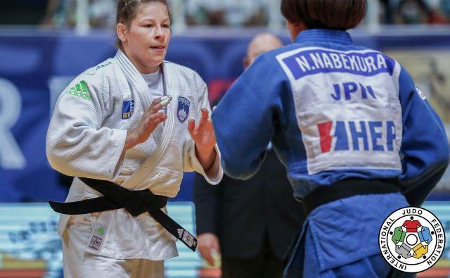 Tina Trstenjak je morala v Parizu premoč priznati zgolj Japonki Nami Nabekura. FOTO: Marina Mayorova/IJF