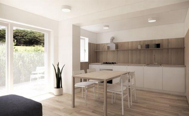 Ključna poteza pri tlorisni ureditvi in izpolnitvi želja je povezava obstoječe dnevne sobe in otroške sobe, s čimer se ustvari dovolj velik, hibridni, bivalni prostor. Foto arhitekti ekipe Celovito