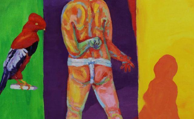 Bojan Bensa: <em>Človek, ptič in senca</em>, 120 x 90, olje na platnu FOTO: Arhiv umetnika