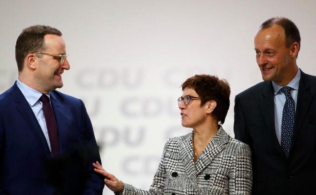 Jens Spahn in Friedrich Merz sta med najverjetnejšimi kandidati za naslednika Annegret Kramp-Karrenbauer. Foto AFP