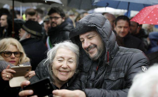 Proslave ob dnevu spomina v Bazovici se je udeležil tudi Matteo Salvini, vodja opozicijske Lige. FOTO: Blaž Samec