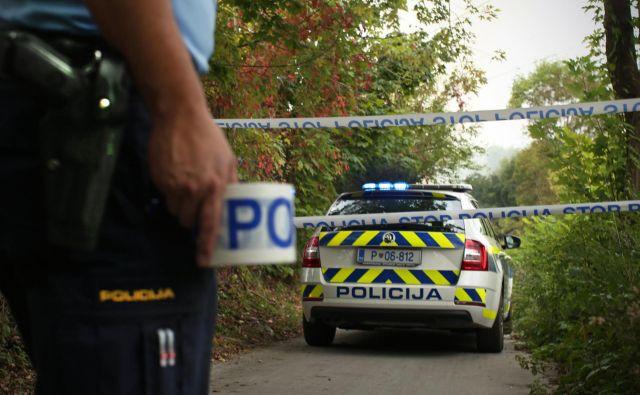 Policija v Žabjaku preiskuje sum kaznivega dejanja. FOTO: Jure Eržen/Delo