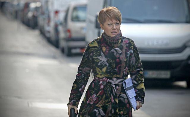 Predsednica Desusa Aleksandra Pivec je v četrtek opozorila, da je za Desus bistven program. FOTO: Blaž� Samec/Delo