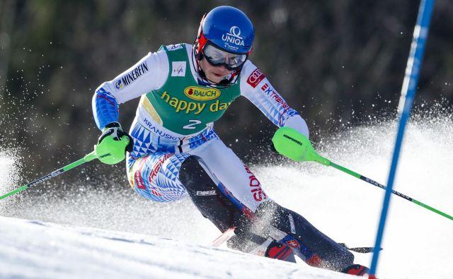 Petra Vlhova med prvo vožnjo slaloma za Zlato lisico. FOTO: Matej Družnik/Delo