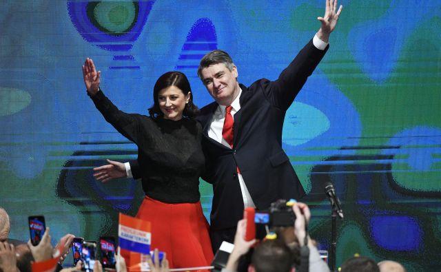 Novi hrvaški prvi par: Sanja Musić Milanović in Zoran Milanović, ona plaha, on aroganten. FOTO: Boris Kovačev/Cropix