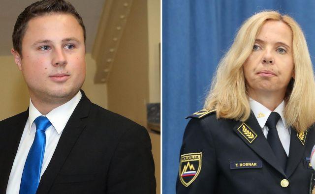 Poslanec SDS in podpredsednik Knovsa Žan Mahnič in generalna direktorica policije Tatjana Bobnar. Prvi je drugo med včerajšnjim obiskom podučil, da je sam izvoljen, njo pa je nastavila vlada. FOTO: Jože Suhadolnik/Delo