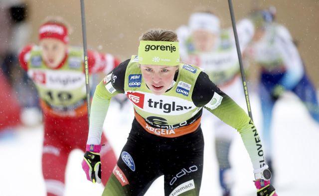 Naša vodilna tekačica bo poskusila spet prevzeti 1. mesto v šprinterski razvrstitvi sezone. FOTO: Roman Šipić/Delo