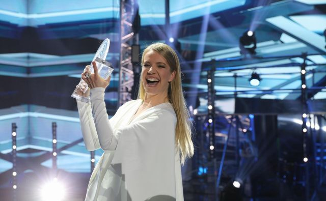 Ana Soklič ob včerajšnji zmagi. FOTO: Adrian Pregelj/RTV Slovenija