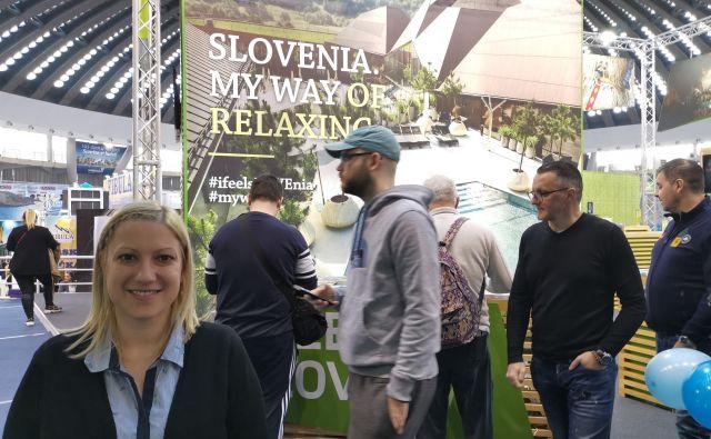 Slovenija je poleg zdravilišč na sejmu ponujala smučišča, neokrnjeno naravo in gastronomijo. Na fotografiji: Žive Vincetič iz STO. Foto Milena Zupanič