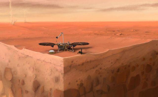 Umetniška upodobitev landerja Insight na Marsu.<br /> FOTO: IPGP/Nicolas Sarter