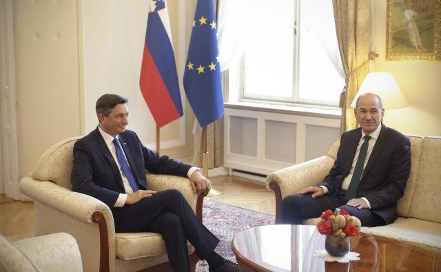 Borut Pahor je sprejel Janeza Janšo. FOTO: Jure Eržen/Delo