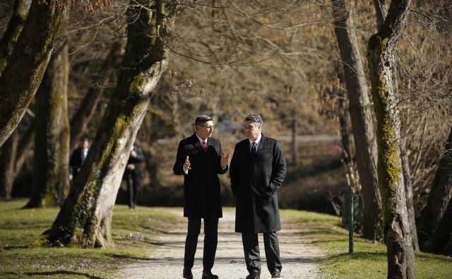 Dva stara znanca, oba socialdemokrata in oba nekdanja premiera svojih držav, se dobro poznata. FOTO: Jure Eržen/Delo