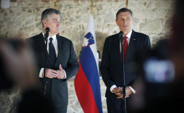 Prvo srečanje slovenskega predsednika Boruta Pahorja s hrvaškim kolegom Zoranom Milanovićem. FOTO: Jure Eržen/Delo
