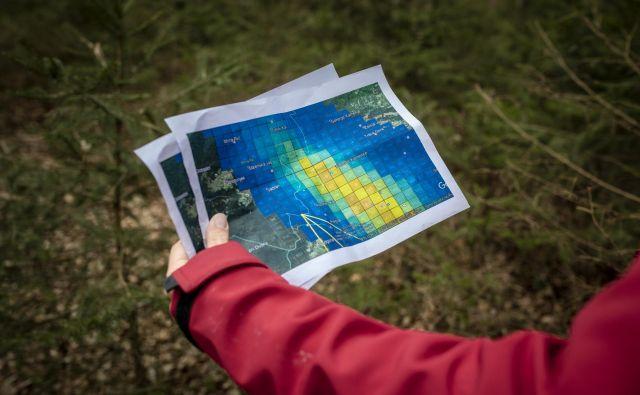 Izračunano območje, kjer bi lahko bili fragmenti meteorita. Območje je določil ljubiteljski astronom Jim Goodall.<br /> FOTO: Voranc Vogel/Delo