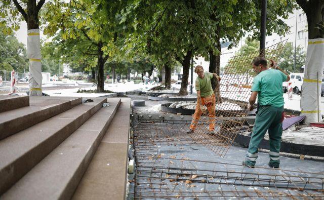 Mestna uprava spreminja zelenico na Ambroževem trgu in ponekod drugje v mestu v tlakovane površine. Foto Uroš Hočevar