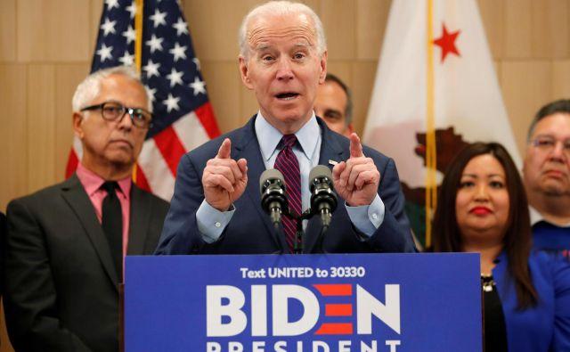Demokratski predsedniški kandidat in nekdanji podpredsednik ZDA Joe Biden. Foto Mike Blake Reuters