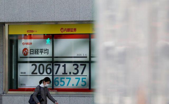 Prebivalka Tokia z zaščitno masko. V ozadju elektronska tabla z vrednostmi vodilnih indeksov, ki so na azijskih borzah zdrsnile navzdol. FOTO: Issei Kato/Reuters