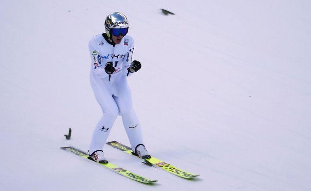Peter Prevc ni skrival zadovoljstva po podvigu v Lillehammerju. FOTO: AFP