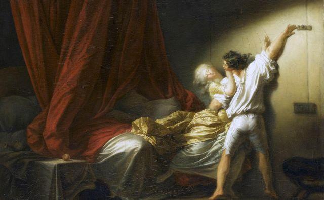 Senzualnost zapeljevanja na platnu Jeana Honoreja Fragonarda iz leta 1777