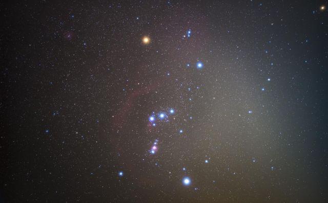 Orion. Betelgeza je rumenkasta zvezda zgoraj levo. FOTO: Shutterstock