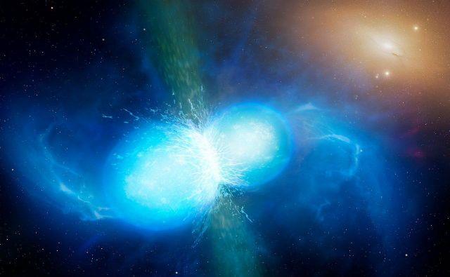 Umetniška upodobitev zlitja nevtronskih zvezd v kilonovo. Ob kilonovi se v vesolje sprostijo tudi zlato in platina. FOTO:University of Warwick/Mark Garli