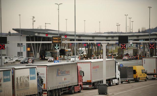 Kolone tovornjakov med Brežicami in mejnim prehodom Obrežje, 27. februarja 2020. FOTO: Jure Eržen/Delo