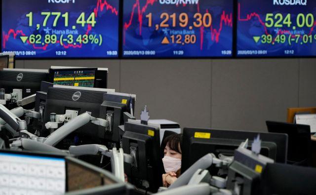 Tečaji delnic so se odbili od včerajšnjega dna, a dnevna nihanja so izjemna. FOT Kim Hong-ji / Reuters