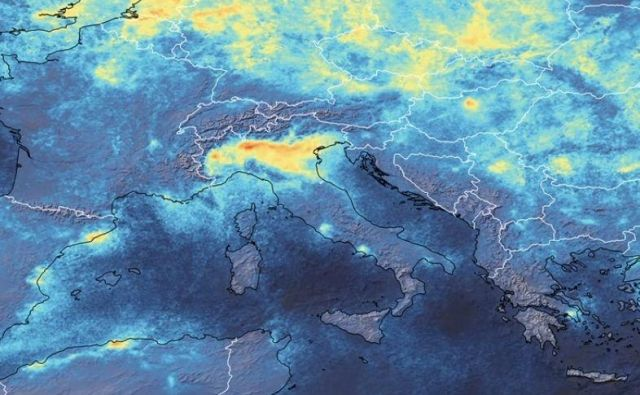 Satelitski podatki o onesnaženosti zraka. FOTO: Esa