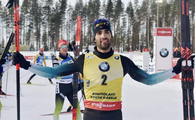 Martin Fourcade je ob svojem slovesu od tekmovalnega športa zmagal, za konec pa je v skupni razvrstitvi osvojil 2. mesto. FOTO: AFP