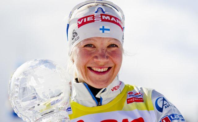 Ko se bo stanje v svetu normaliziralo, si želi finska šampionka Kaisa Mäkäräinen spet enkrat srečati s svojimi navijači. FOTO: Reuters