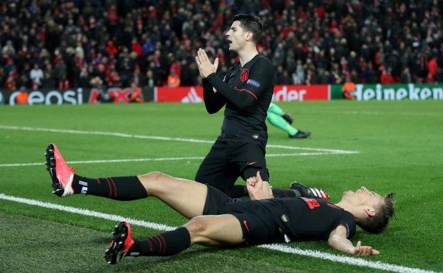 Nogometašem Atletica je pripadlo zadnje dejanje dosedanjega dela lige prvakov, ko so zmagali v Liverpoolu. FOTO: Reuters