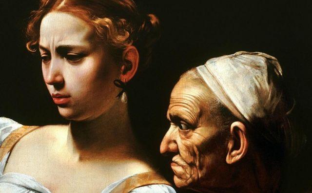 Detajl slike<em> Judita obglavlja Holoferna</em>, ki jo je ustvaril Caravaggio in jo hranijo v Gallerii Nazionale d&#39;Arte Antica v Rimu.