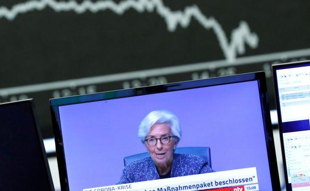 Predsednica Evropske centralne banke (ECB) Christine Lagarde računa na recesijo v evrskem območju. FOTO: Reuters