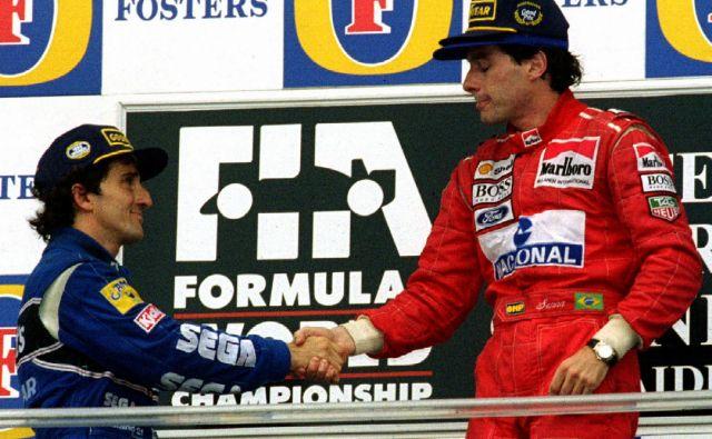 Ayrton Senna (desno) in Alain Prost sta se pobotala šele po koncu Francozove kariere. FOTO: Reuters