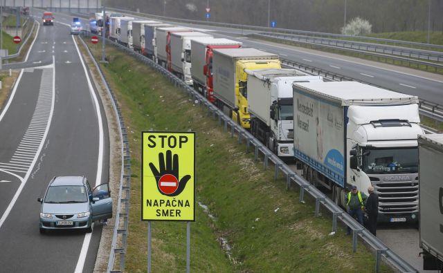 Na mejnih prehodih je bilo največ čakajočih tovornjakov konec prejšnjega tedna, včeraj so bili zastoji manjši. FOTO:Jože Suhadolnik/Delo
