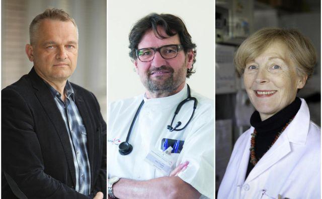 Alojz Ihan, Janez Tomažič, Tatjana Avšič Zupanc. Zdravniki, ki nam s svojimi prispevki pomagajo bolje razumeti koronavirus. FOTO: Arhiv Dela