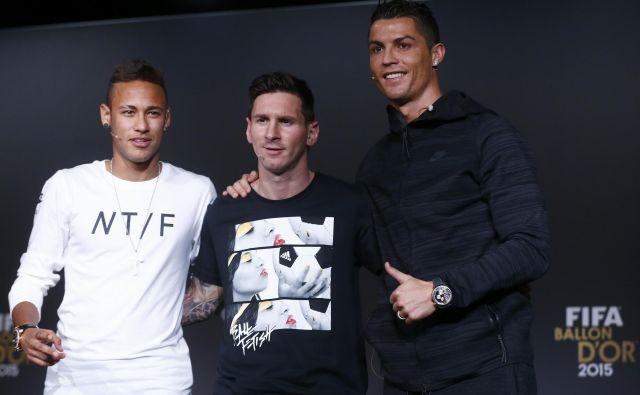 Najbolje plačani nogometaši na svetu so (z leve) Neymar, Lionel Messi in Cristiano Ronaldo. FOTO: Reuters