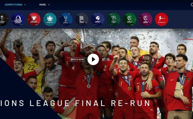 Spletna platforma odprte Uefine televizije. FOTO: Zajem zaslona Uefa.tv