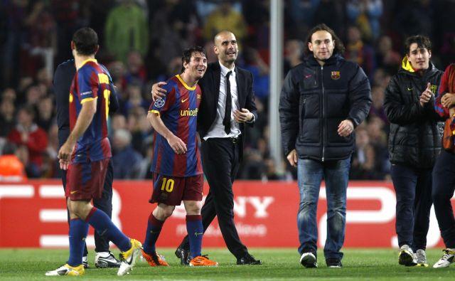 Lionel Messi in Pep Guardiola sta bila štiri leta nepogrešljiv dvojec pri Barceloni. FOTO: Reuters