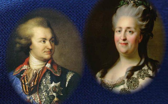 Grigorij Potemkin, vojak in ljubimec, in Katarina Velika, mati velike Rusije, narisal Johann Baptist von Lampi starejši. FOTO: arhiv založbe