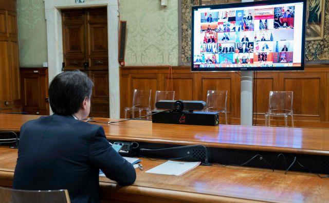 Želje italijanskega premiera <strong>Guiseppa Conteja</strong> na videovrhu EU niso bile uslišane. FOTO: Palazzo Chigi press office/AFP