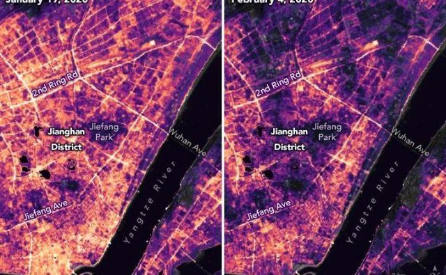 Razlika v osvetljenosti trgovskega območja Jianghan v Wuhanu. FOTO: Nasa