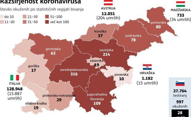 Razširjenost koronavirusa. Infografika