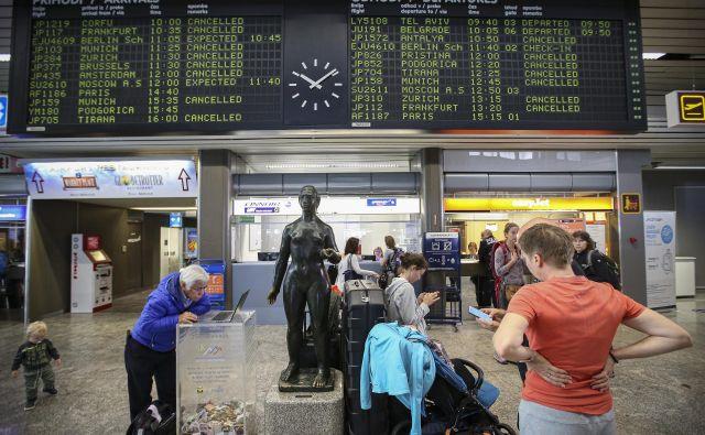 Gneče na letališčih ni več, ljudje čakajo na vračilo vplačanega zneska zaradi odpovedi potovanj. FOTO Jože Suhadolnik/Delo
