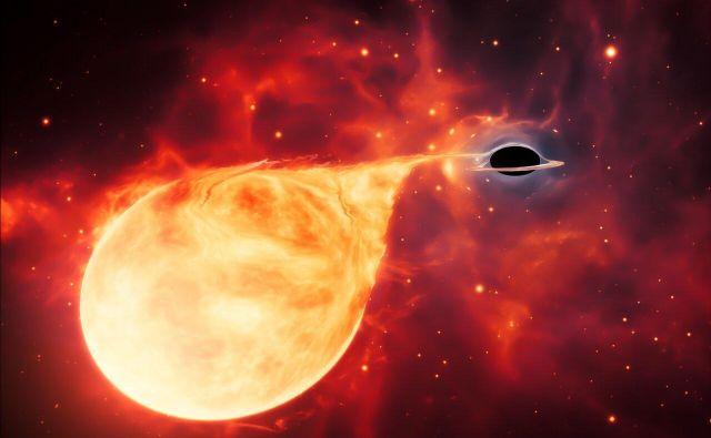 Umetniška upodobitev srednjevelike črne luknje, ki bi jo lahko po velikosti uvrstili med stelarne in supermasivne črne luknje. Obstoj srednjemasivnih črnih lukenj še ni povsem dokazan, kjer jih je težko odkriti. FOTO:ESA/Hubble, M. Kornmesser