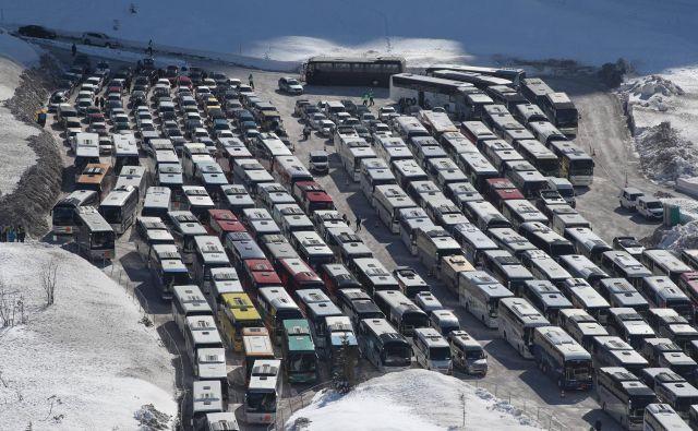 Množični športni dogodki, kot je odpovedano svetovno prvenstvo v poletih v Planici, so bili za zdaj mirujoče avtobusne prevoznike vir prihodkov. Foto Marko Feist