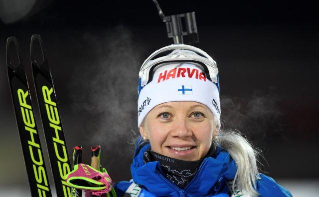 Finska šampionka Kaisa Mäkäräinen je nanizala kar 85 uvrstitev na oder za najboljše biatlonke na svetu, od tega 27 na zmagovalno. FOTO: Reuters